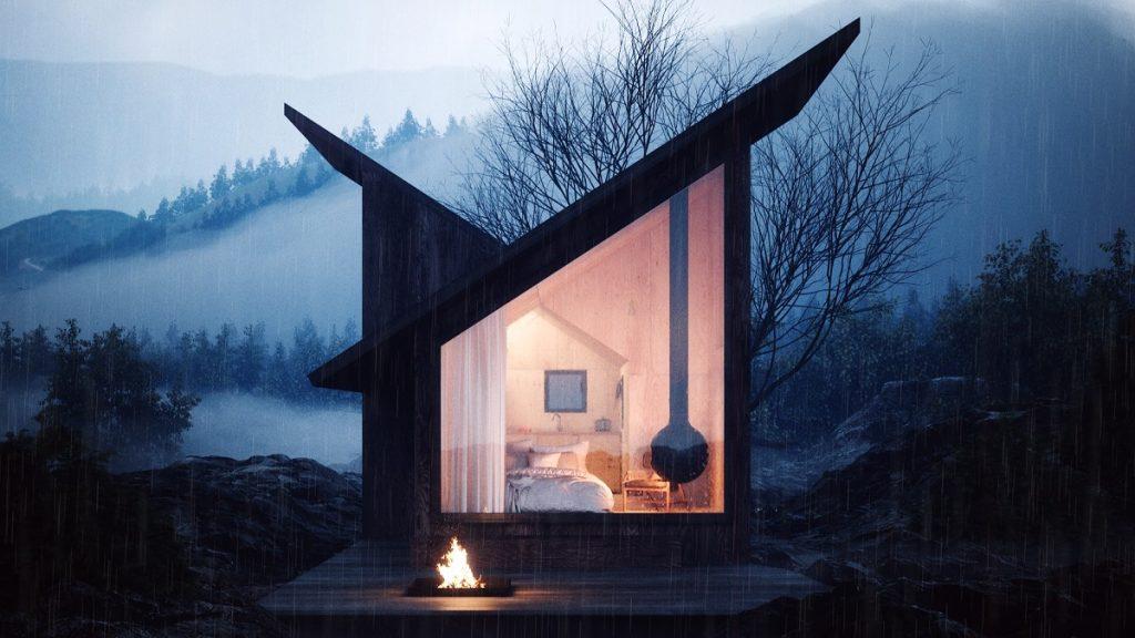 Horská chatka s ohniskom