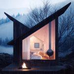 Horská chata s ohniskom