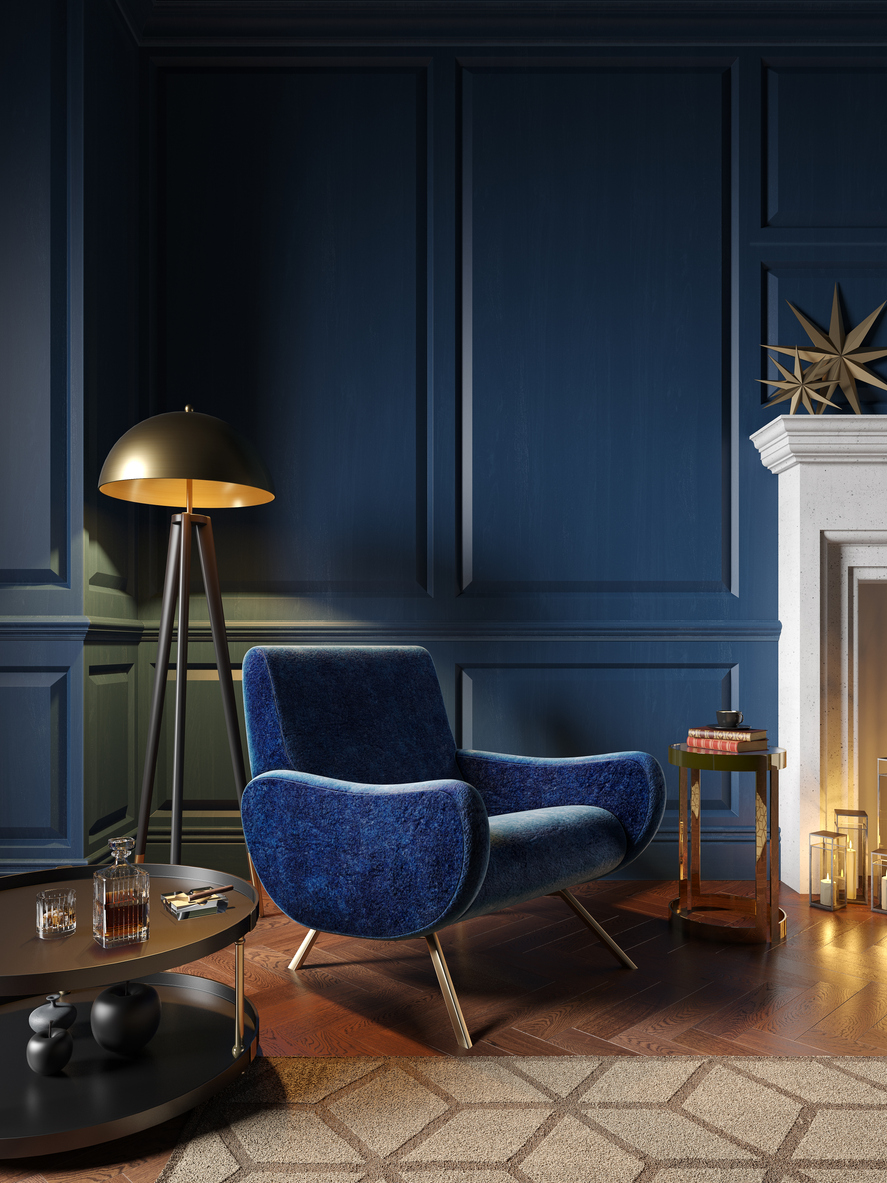 Classic royal blue color interior with armchair, fireplace, candle, floor lamp, carpet. 3d render illustration mock up.