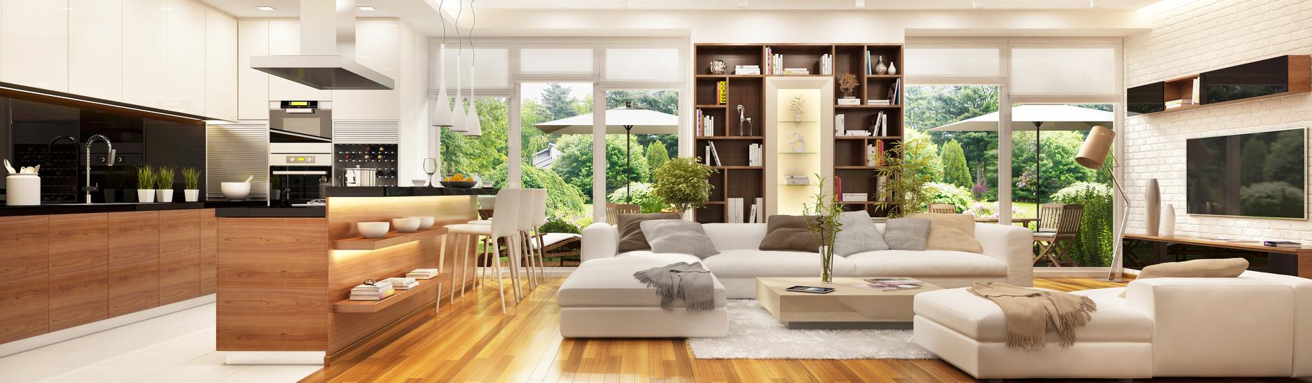 Otvorená obývačka s kuchyňou.