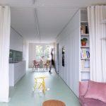 Obývacia časť oddeliteľná závesom