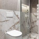 Toaleta a sprchový kút s mramorom