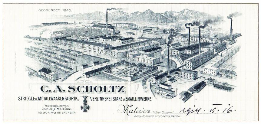 Pohľad na továreň v Matejovciach z roku 1845.