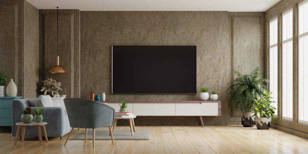 TV v modernej obývačke