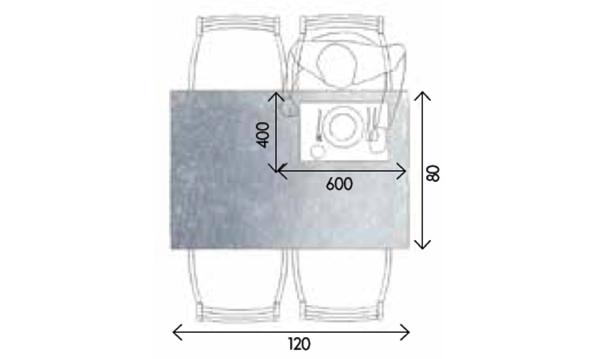 Stôl pre štyroch má základné rozmery 120 × 80 cm