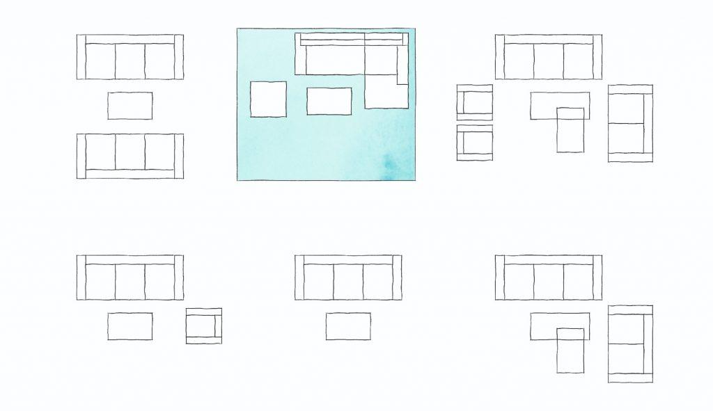 Schéma obývačky umiestnenie