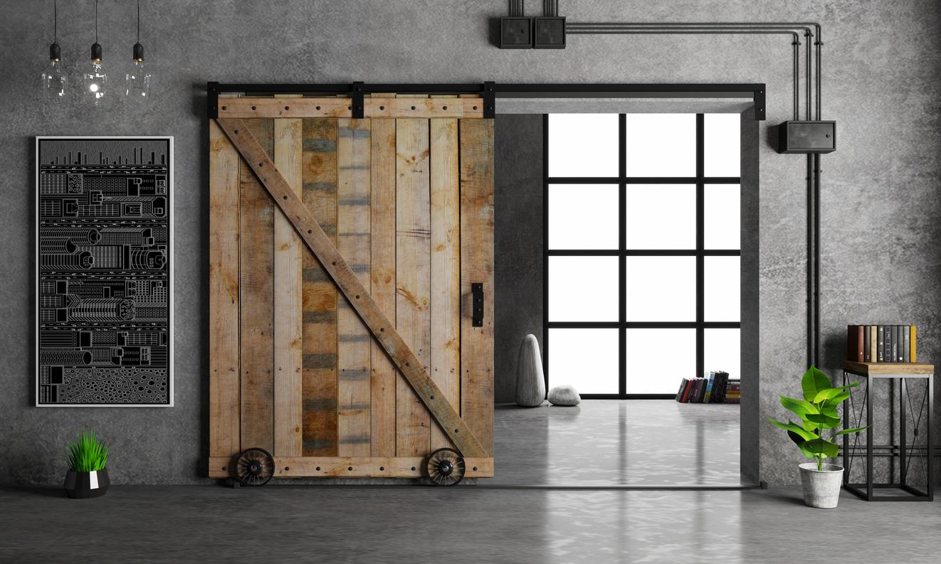 Barn Sliding Wooden Door in Loft Room