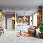 farebný koberec v obývacej izbe