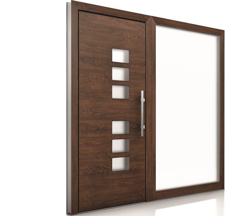Internorm hliníkové vchodové dvere AT410_imitácia dreva-1000×1000