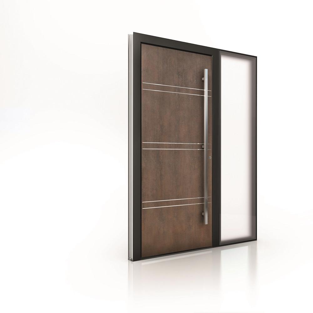 Internorm hliníkové vchodové dvere AT410_imitácia hrdze s plošne lícujúcim svetlíkom-1000×1000