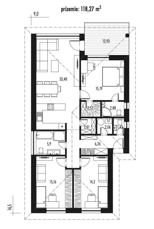 projekt rodinného domu Bungalov Olívia