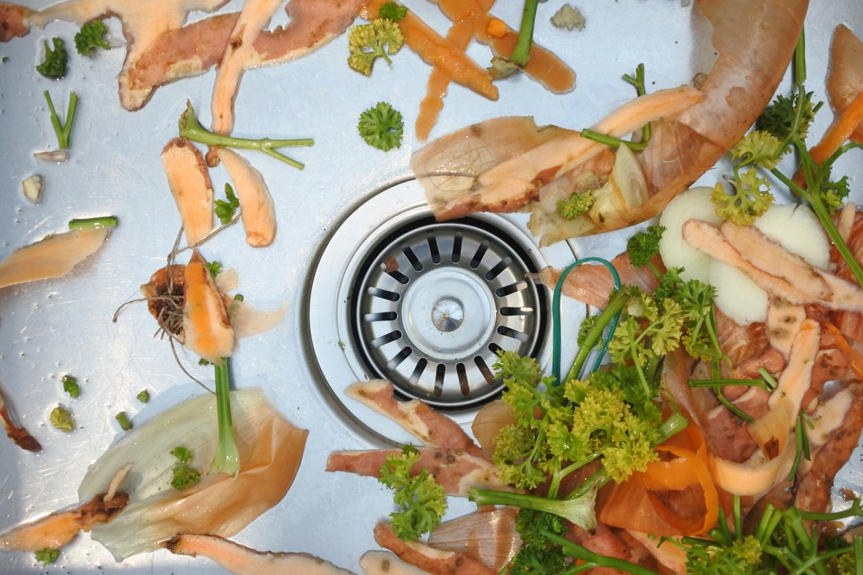 Mix of vegetables waste in home kitchen sink