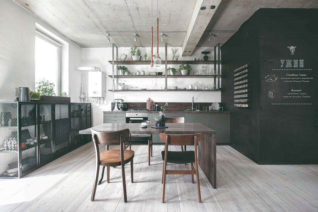 Drevo, betón, tmavozelená a odtiene sivej: Moderná kuchyňa s industriálnym nádychom