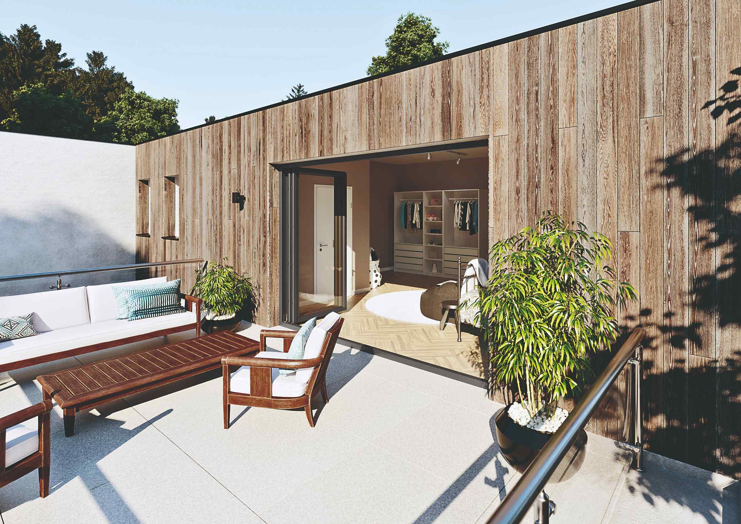 Dom s drevenou fasádou a otvorenou panorámou