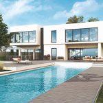 Veľký rodinný dom s presklením a bazén