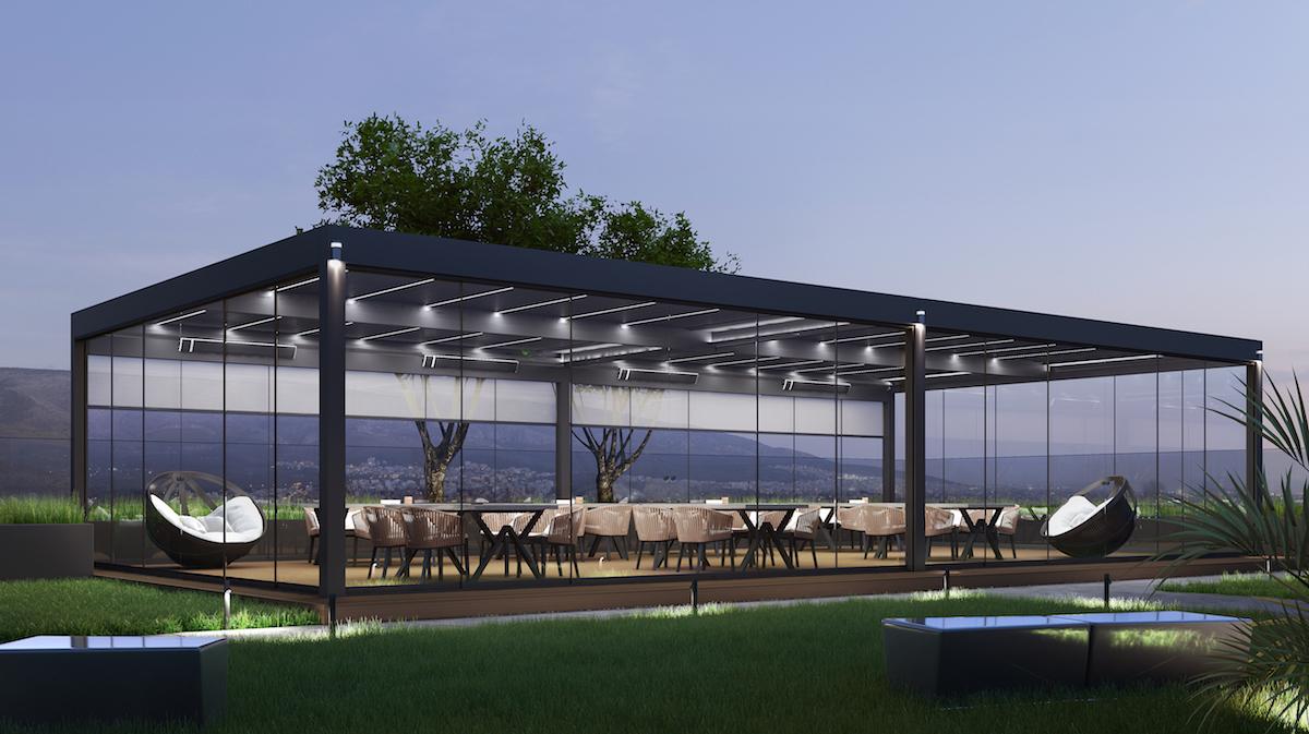 Veľká pergola nad terasou reštaurácie