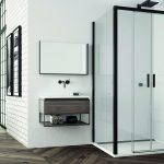 Sprchový kút walk in biela kúpeľňa drevená podlaha