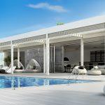 Pergola v modernom dome s bazénom