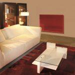 Červený sálavý panel v obývačke