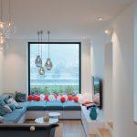 Obývačka s veľkým oknom a rohová sedačka