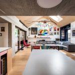 Obývačka s jedálňou šikmá strecha