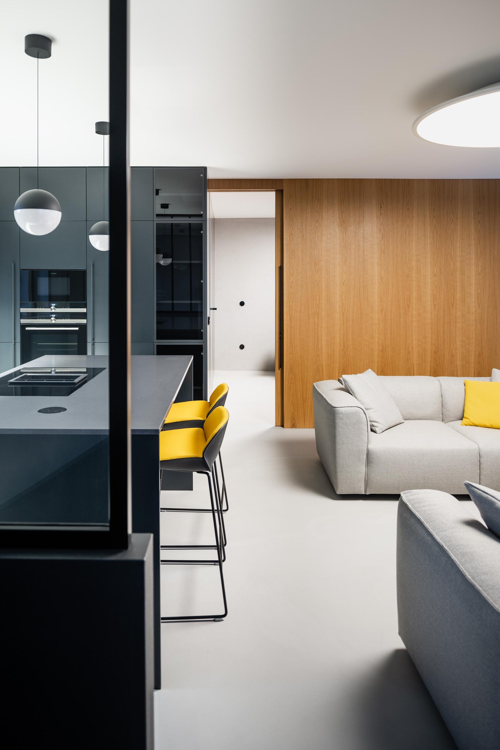 otvorený priestor v byte s tmavou kuchyňou