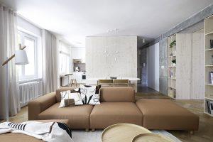Panelákový byt pri Štrkovci zbavili nezmyselnej dispozície. Prekvapil aj kontrast jemnosti a surových materiálov
