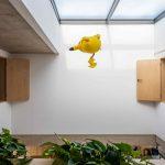 Plyšový Pikačú letí z okna do okna medzi izbami