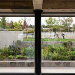 Pohľad z domu do záhrady na hrajúce s adeti