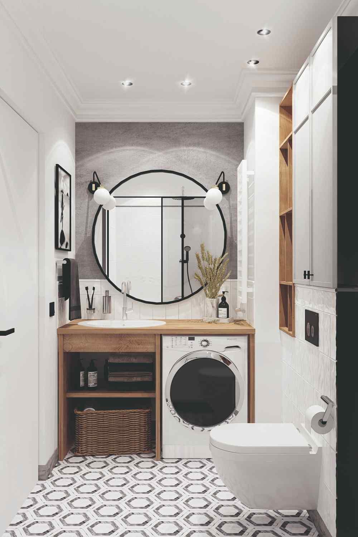 Kúpeľňa s veľkým zrkadlom a práčkou