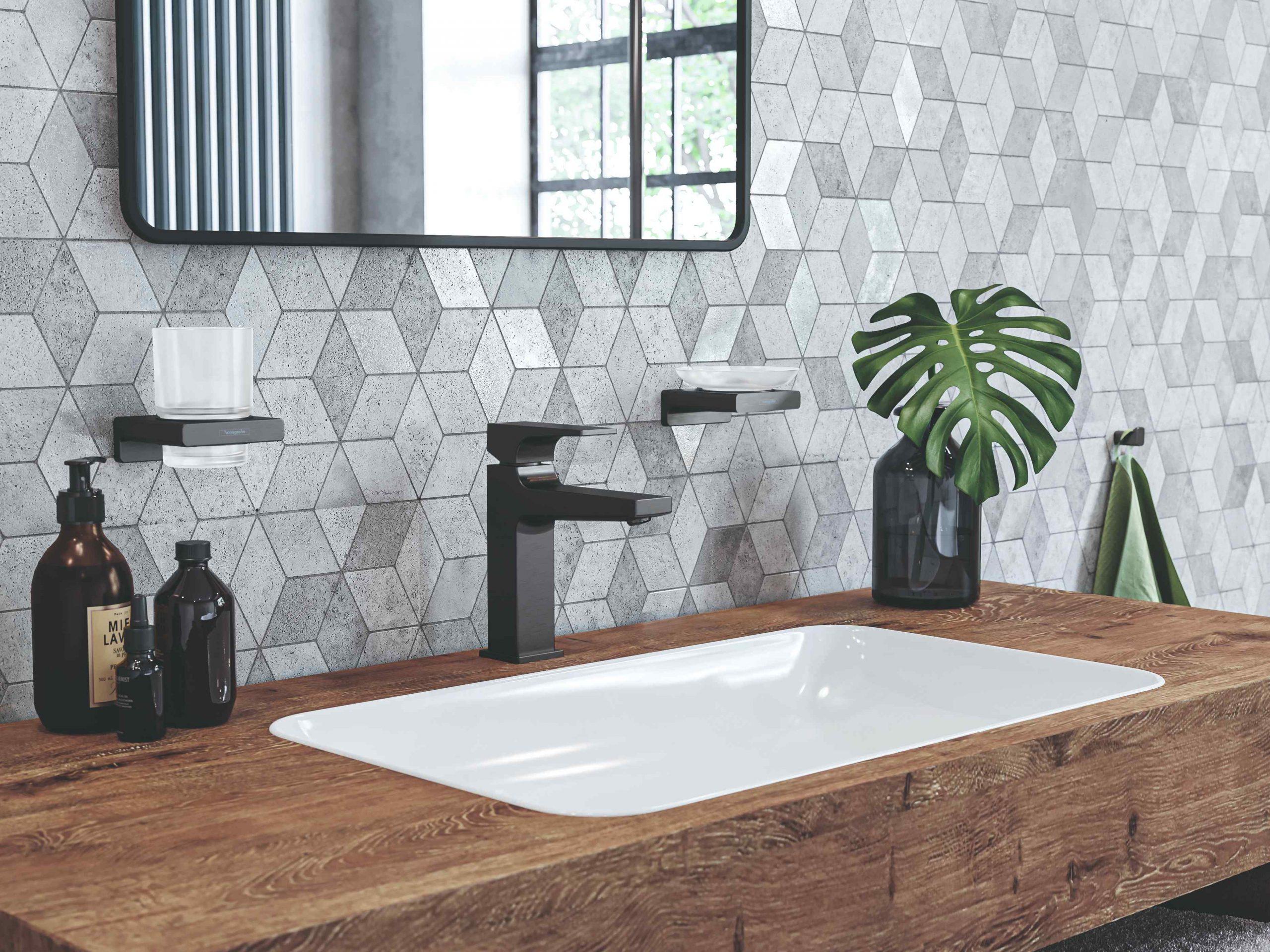 Moderné obdĺžnikové umývadlo s mozaikovou stenou