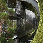 Schodisko v modernom dome plné rastlín
