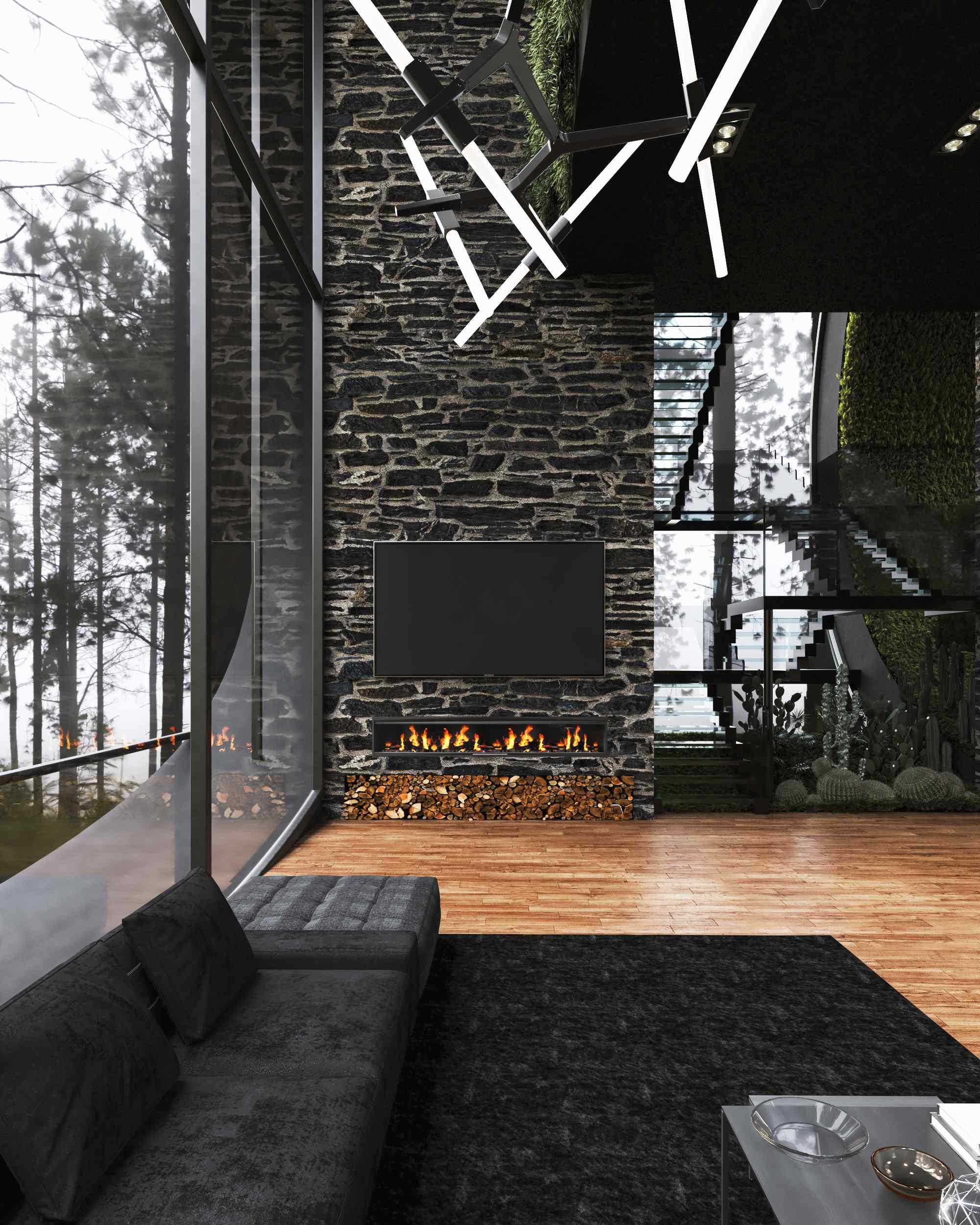 Moderná obývačka s krbom a svietidlami