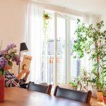 Kút s izbovými kvetmi a žena za stolom