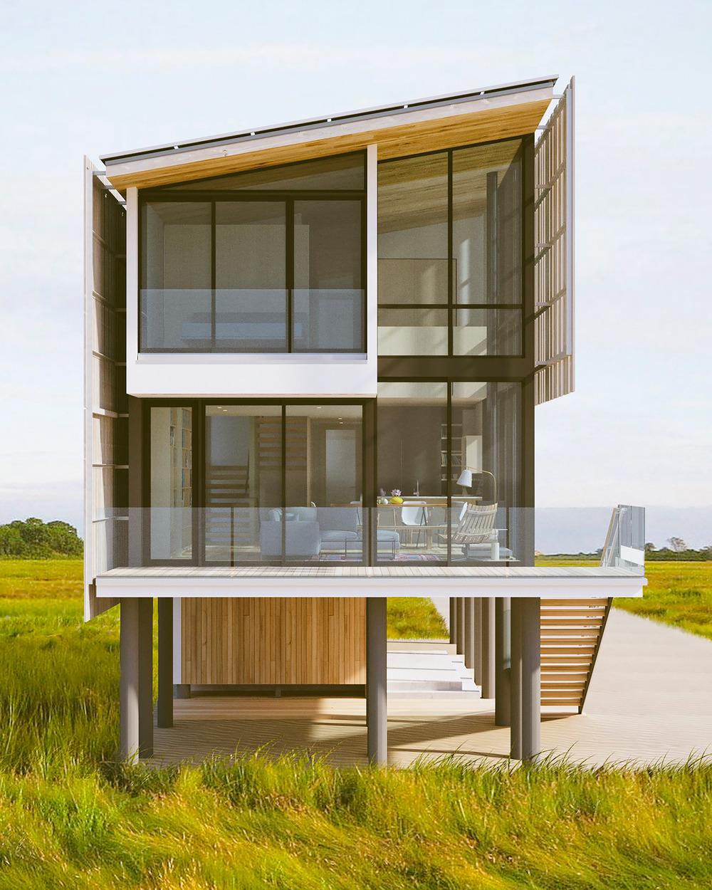 Trojpodlažný moderný dom s presklenou fasádou