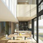 Jedáleň s kuchyňou v modernom presklenom priestore domu