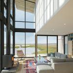 Presklená fasáda v obývačke v dome pri mori