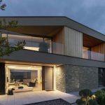 Veľký moderný rodinný dom s obložením z kameňa