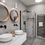 Moderná kúpeľňa v sivej s čiernymi batériami