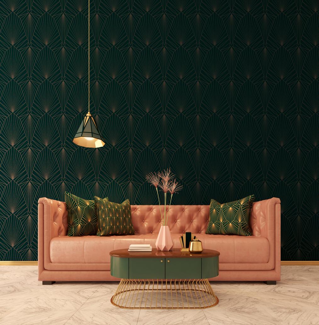 Art deco obývačka s tehlovým gaučoma tmavou stenou