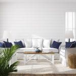 Prímorská obývačka v bielej a modrej
