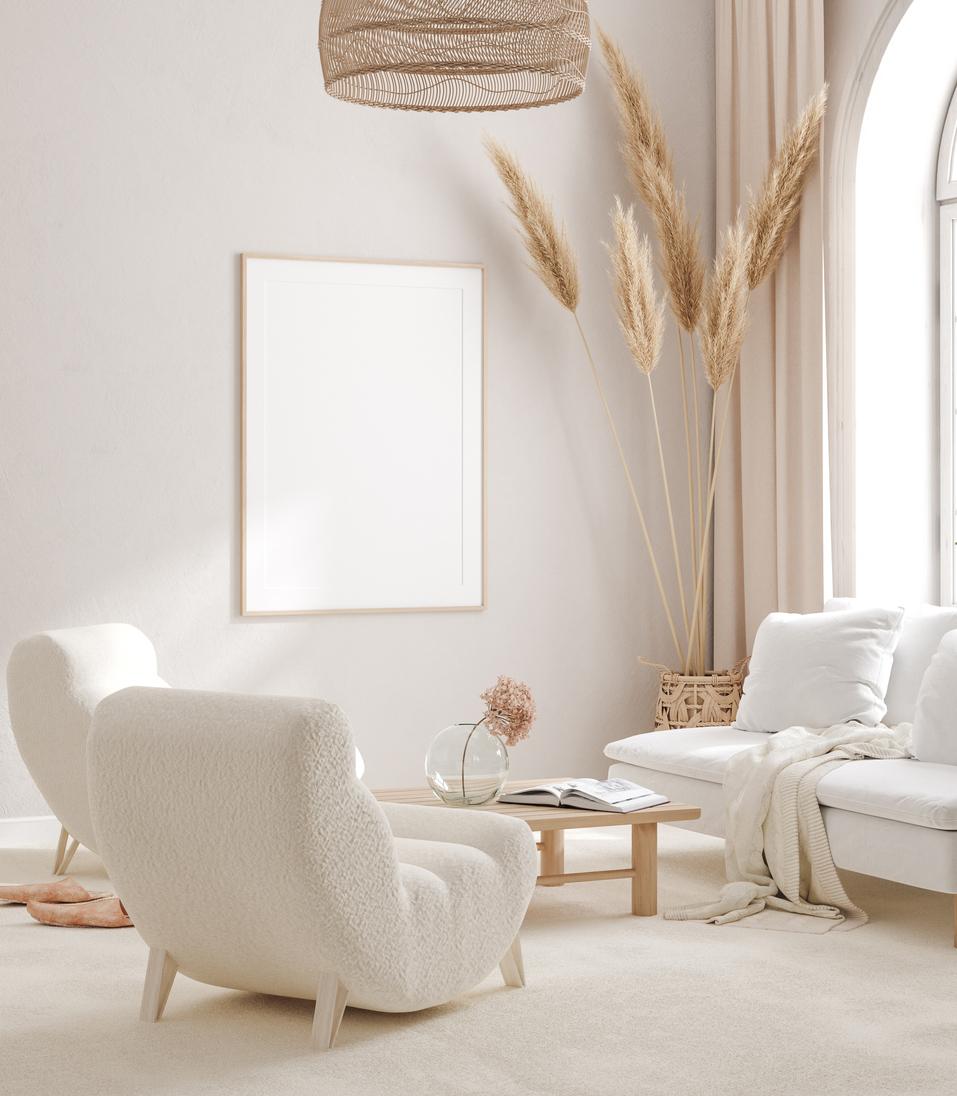 Škandinávska boho obývačka v bielej