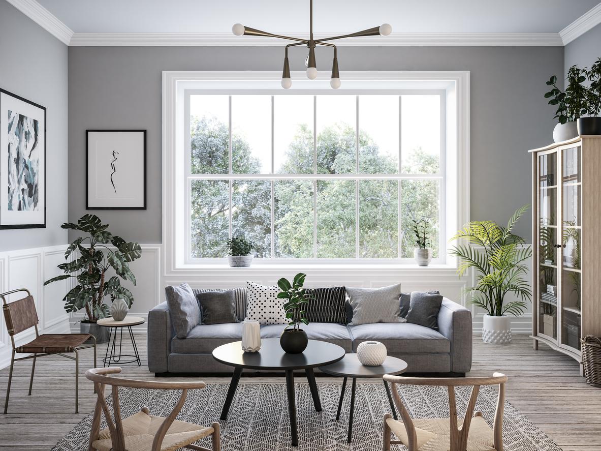 Moderná obývačka v škandinávskom štýle