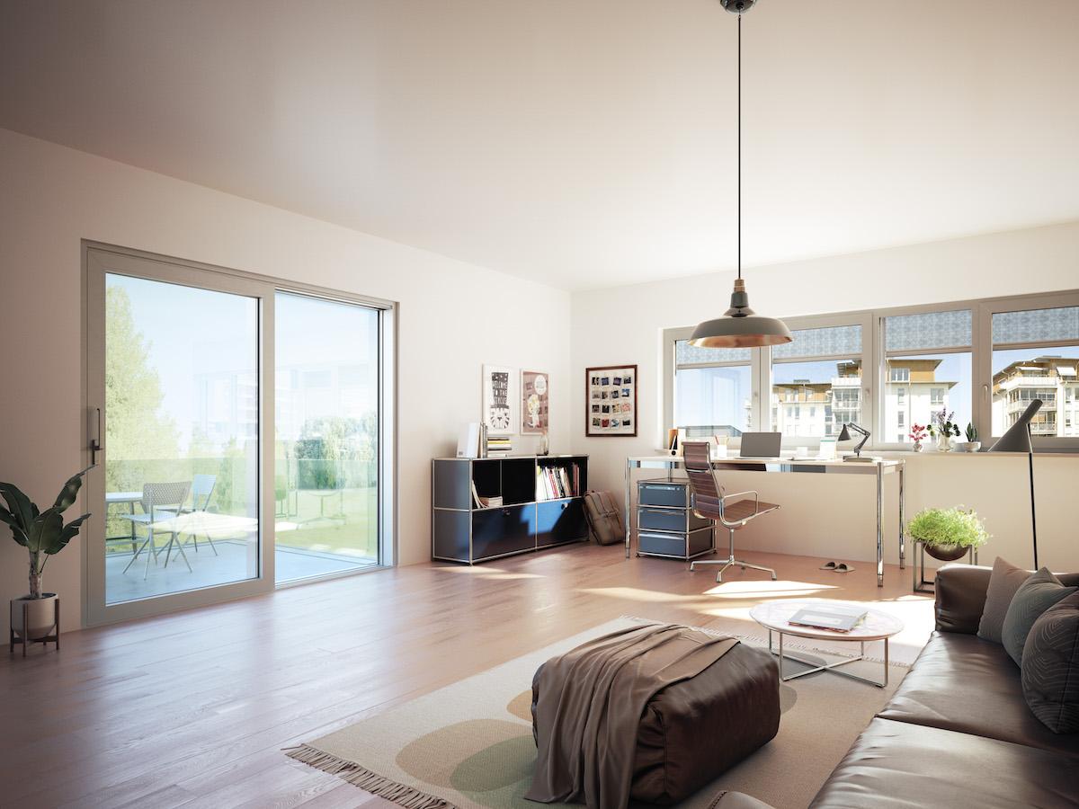Hliníkové zdvižno posuvné dvere v modernej obývačke