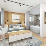 moderná spálňa s voľne stojacou vaňou
