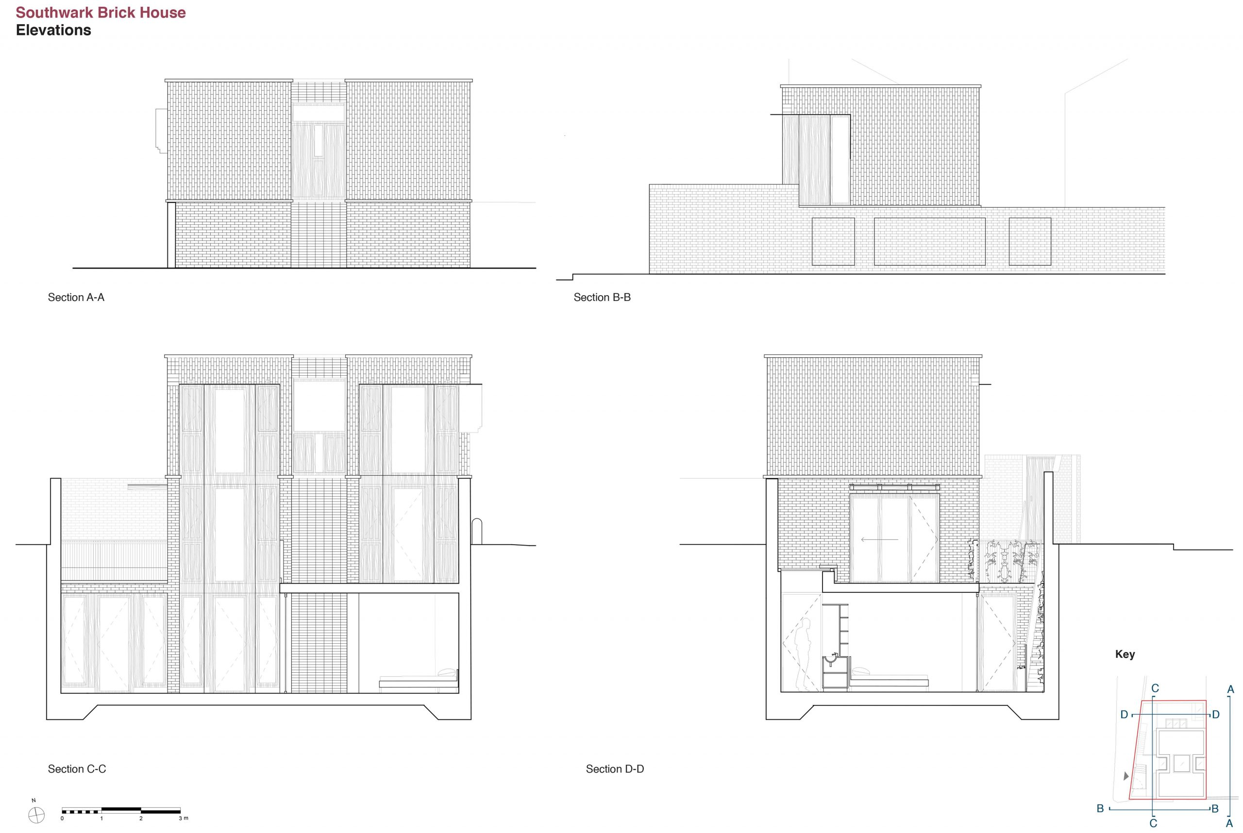 3 Southwark Brick House elevations