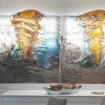 Umelecké sklenené diela s motívom vlniek