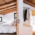 Biela spálňa v drevenom podkroví