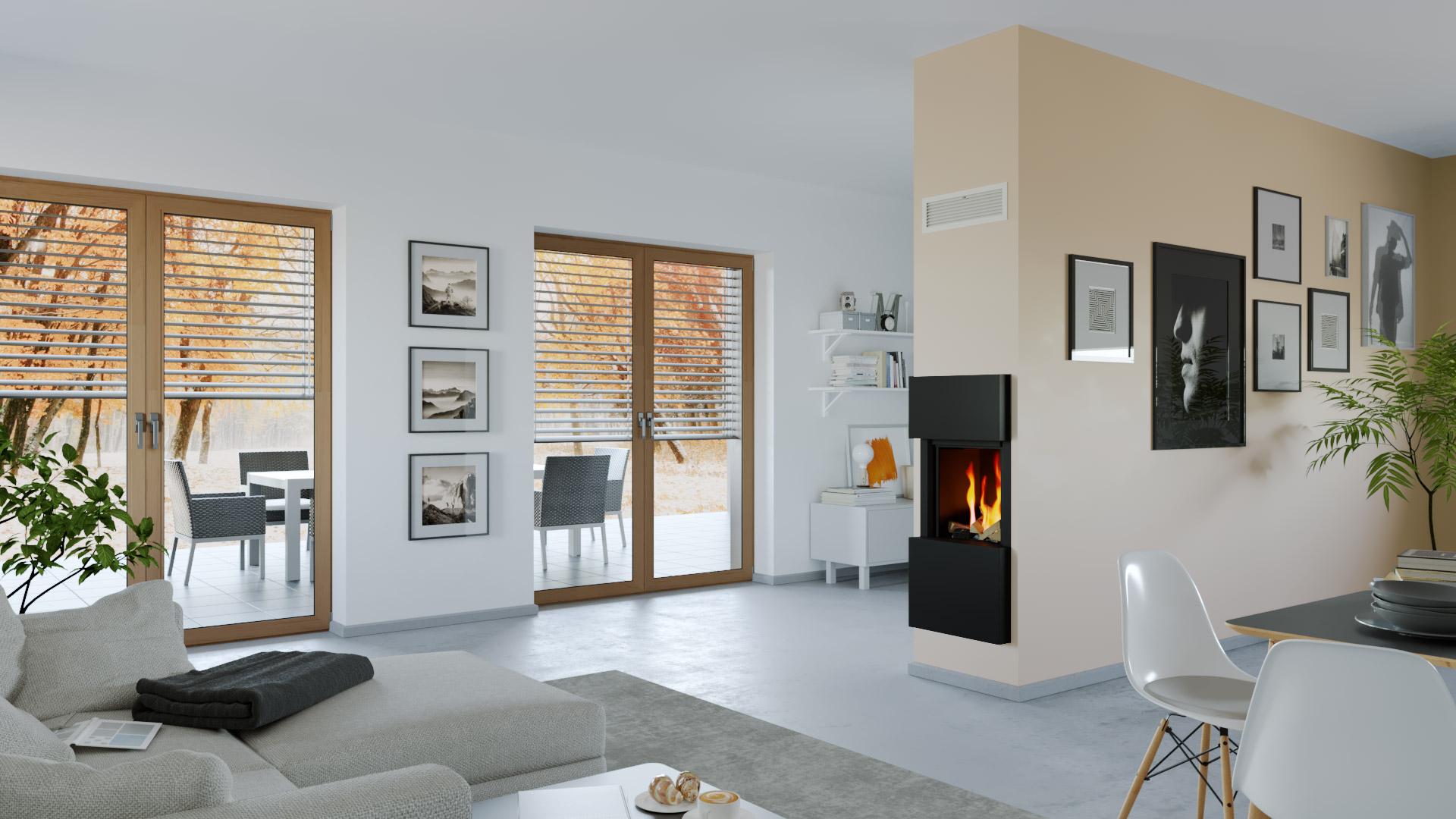 Krb v obývačke s francúzkymi oknami