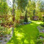 Trávnatá plocha v zelenej záhrade so stromami